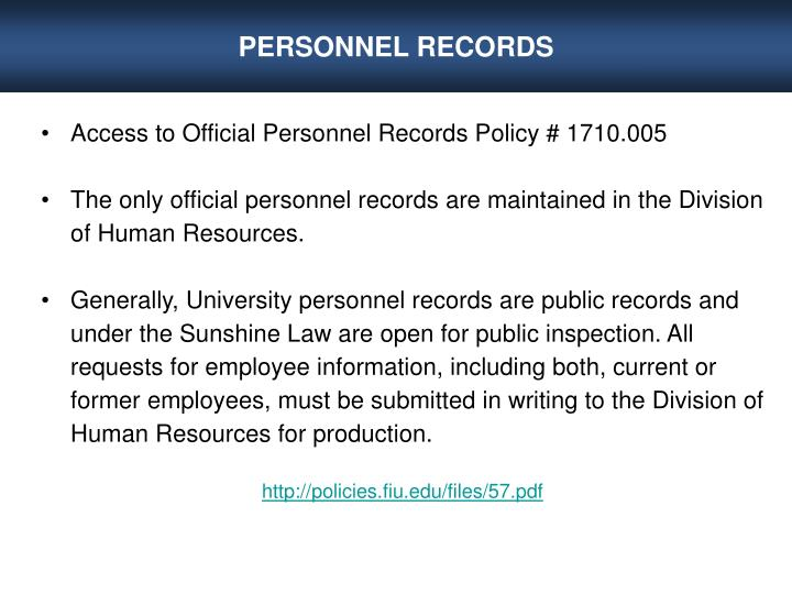 PERSONNEL RECORDS