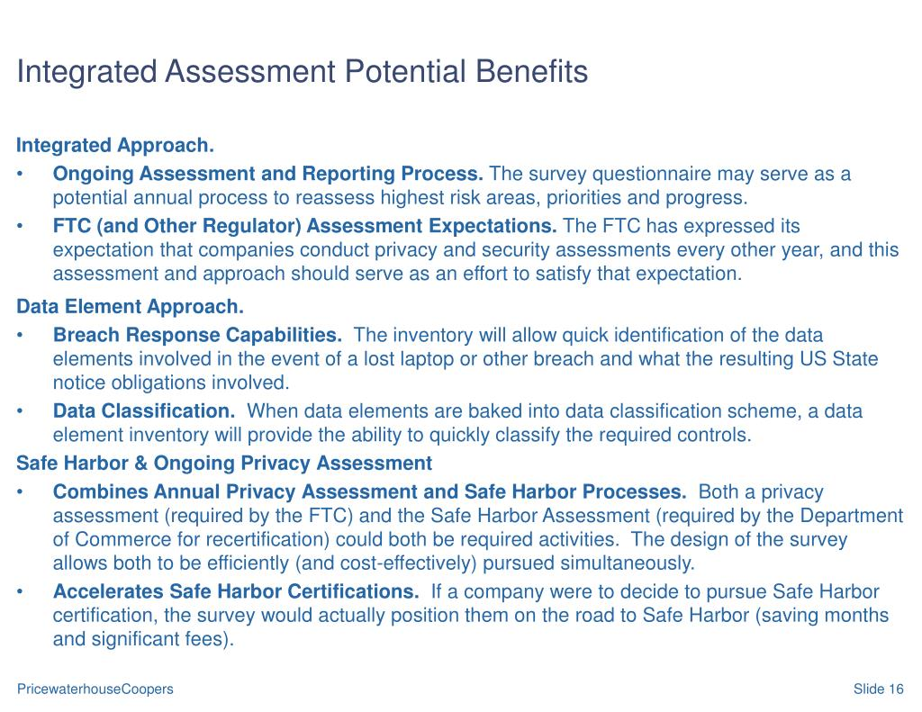 Integrated Assessment Potential Benefits