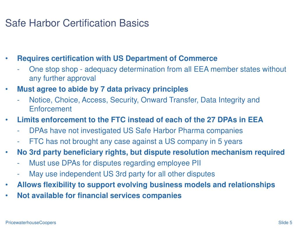 Safe Harbor Certification Basics