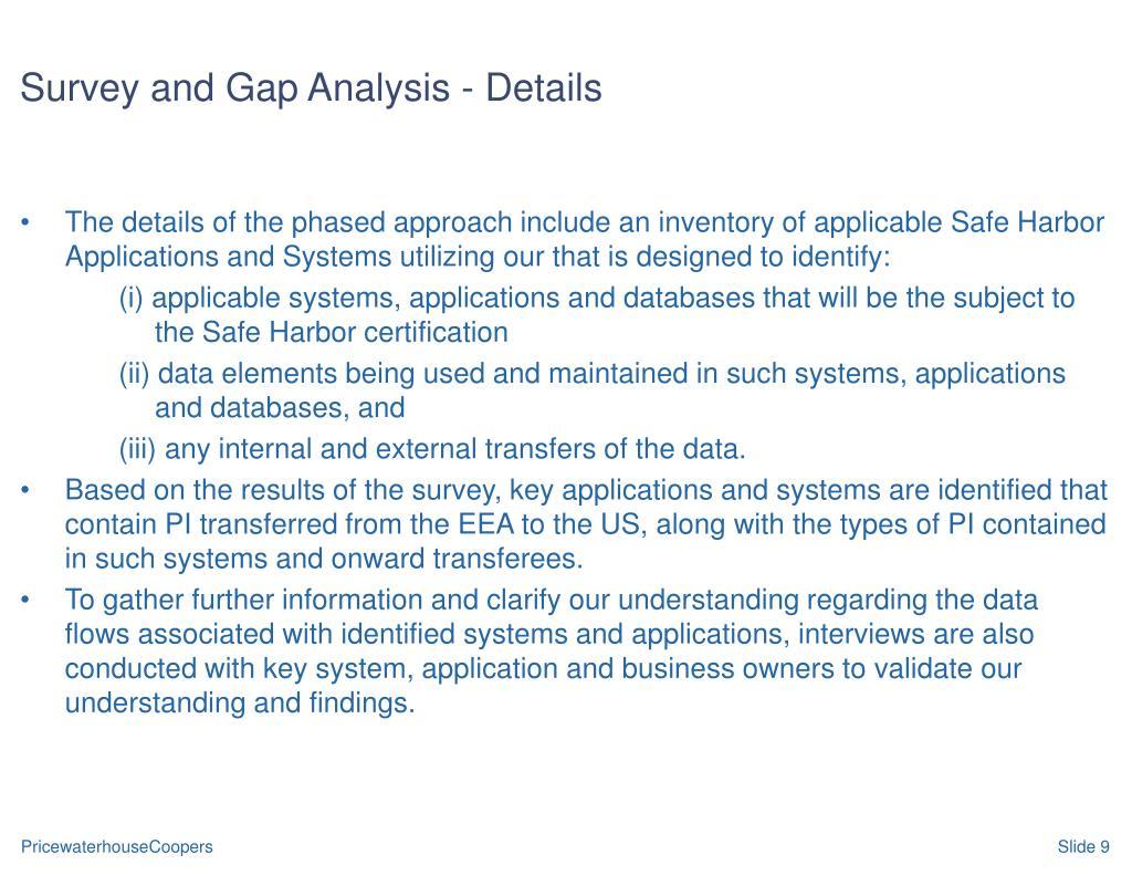 Survey and Gap Analysis - Details