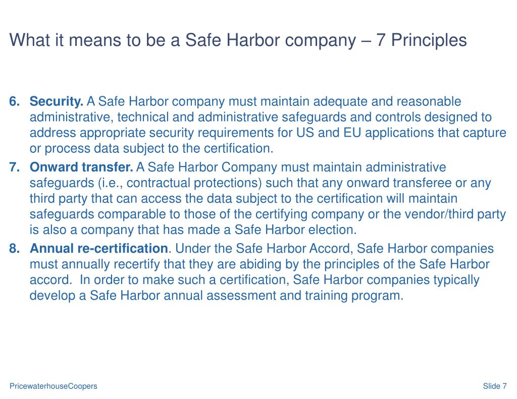 What it means to be a Safe Harbor company – 7 Principles