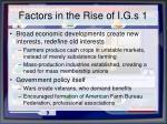 factors in the rise of i g s 1