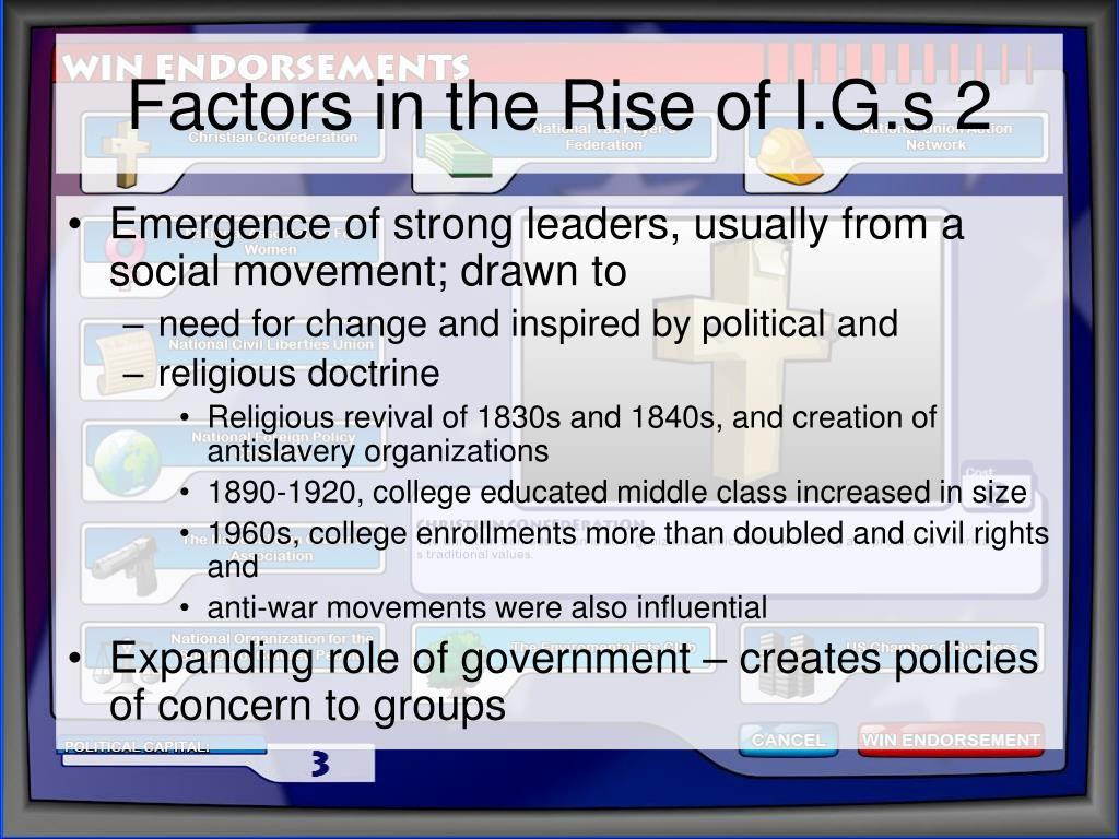 Factors in the Rise of I.G.s 2