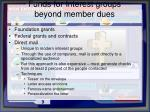 funds for interest groups beyond member dues