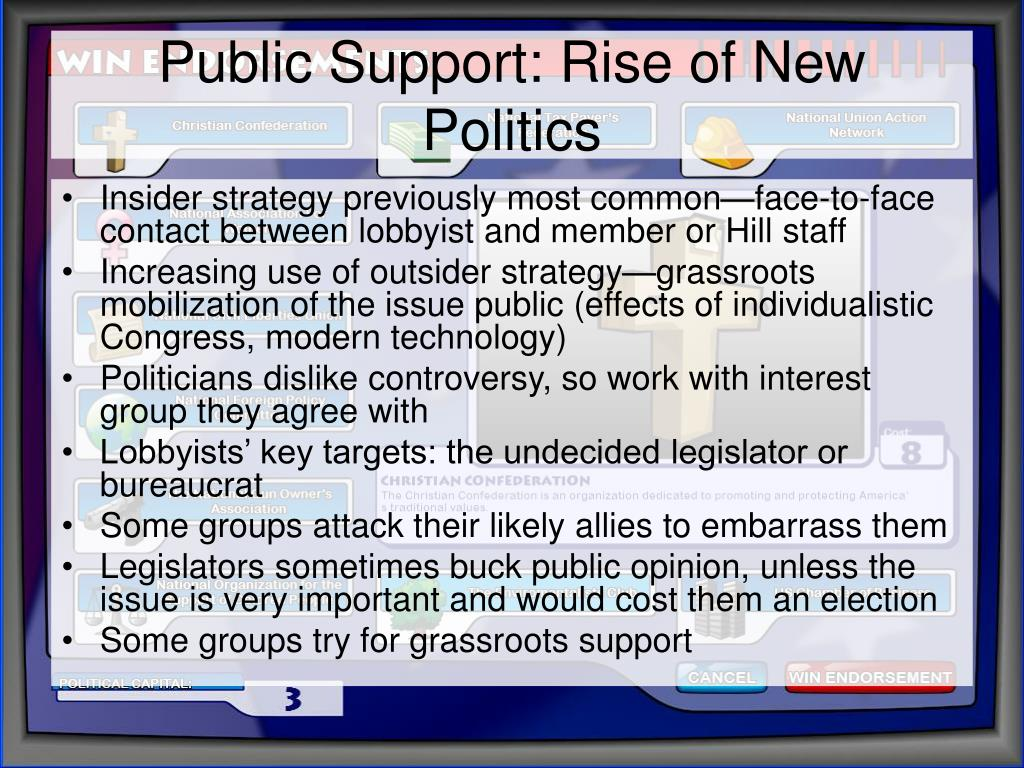 Public Support: Rise of New Politics