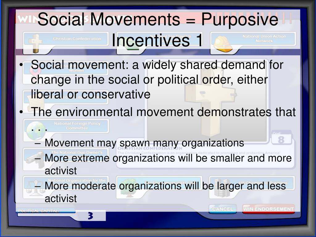 Social Movements = Purposive Incentives 1
