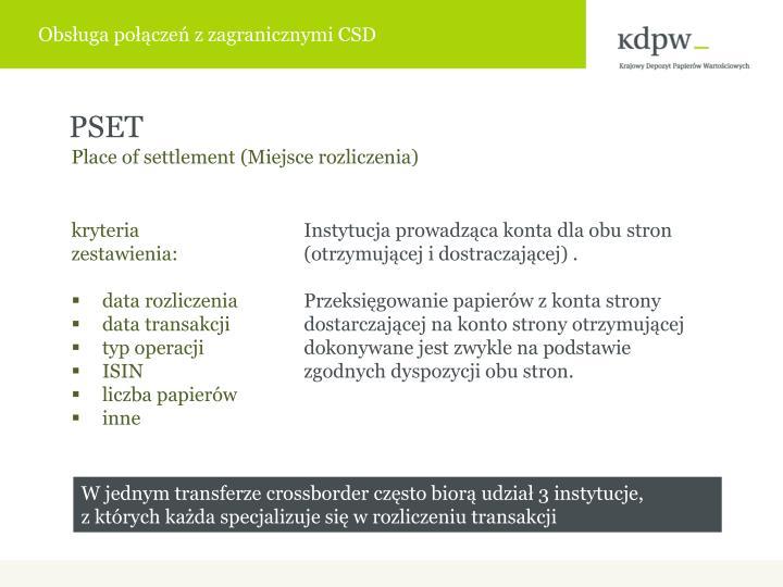 Obsługa połączeń z zagranicznymi CSD