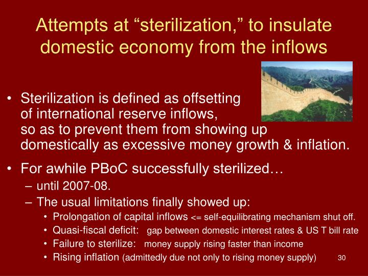 "Attempts at ""sterilization,"" to insulate domestic economy from the inflows"