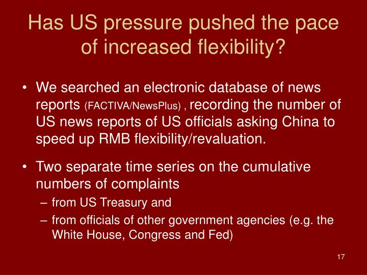 Has US pressure pushed the pace of increased flexibility?