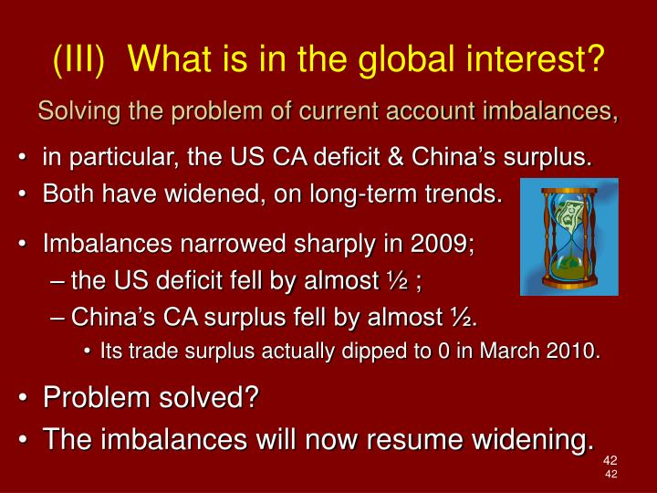 Solving the problem of current account imbalances,