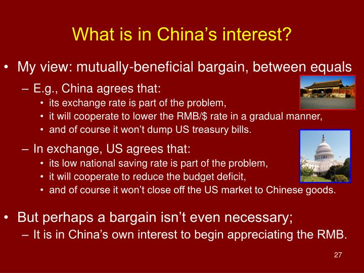 What is in China's interest?