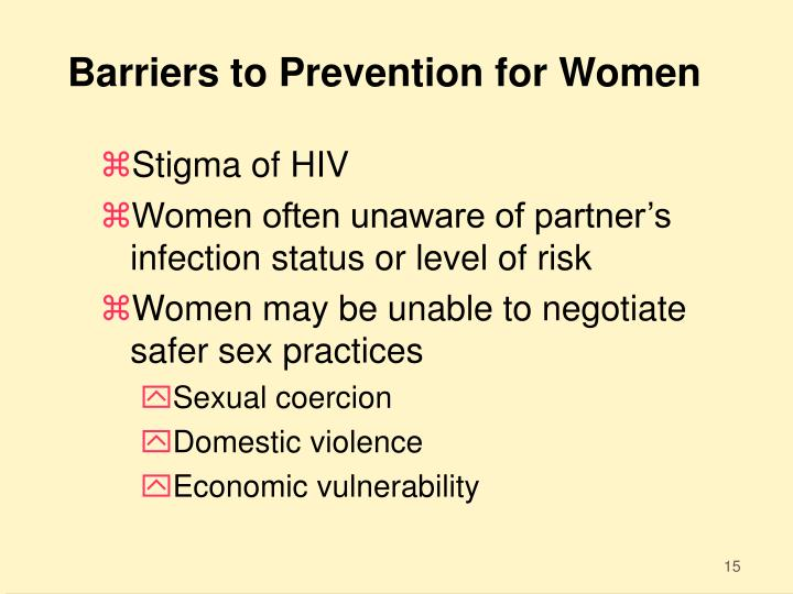 Barriers to Prevention for Women