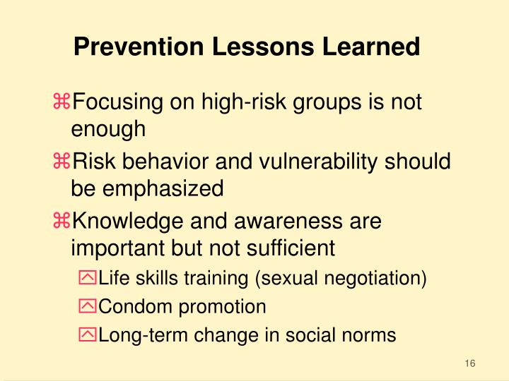 Prevention Lessons Learned