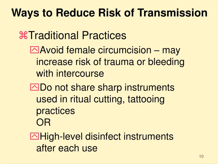 Ways to Reduce Risk of Transmission