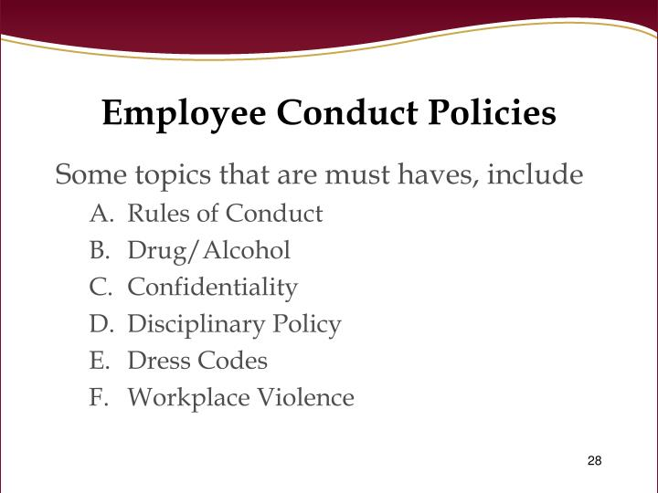 Employee Conduct Policies