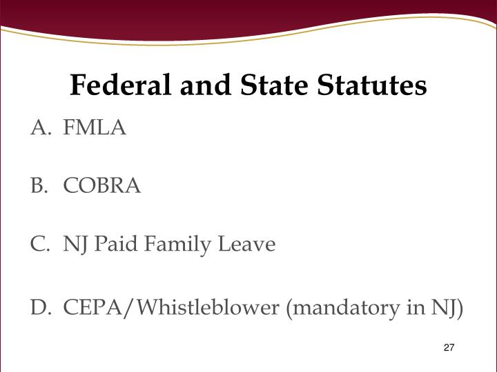 Federal and State Statutes