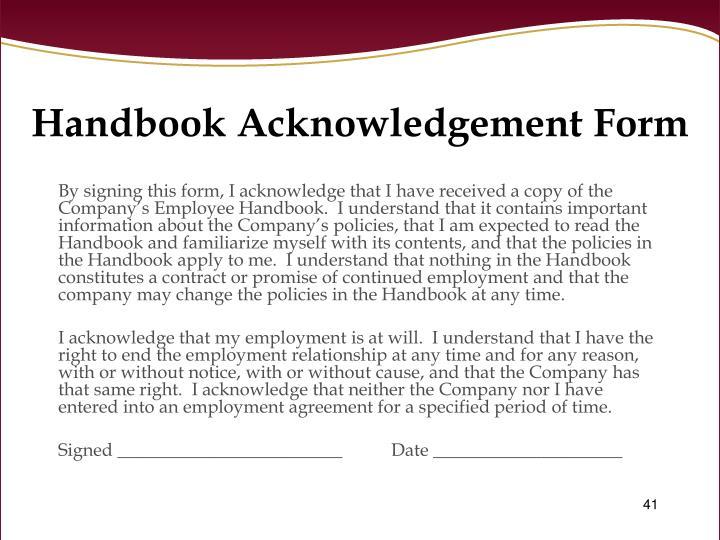 Handbook Acknowledgement Form
