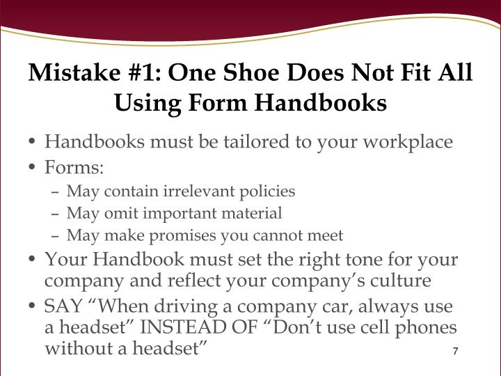 Mistake #1: One Shoe Does Not Fit All