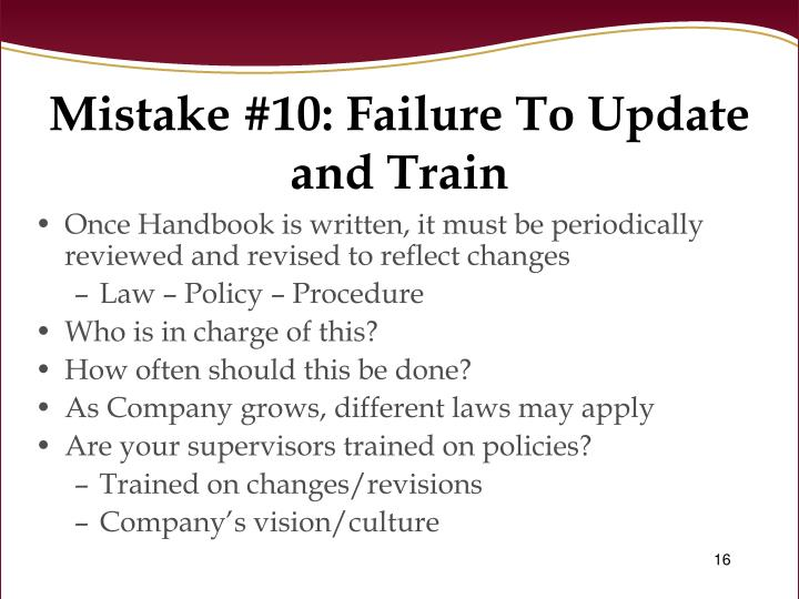 Mistake #10: Failure To Update and Train