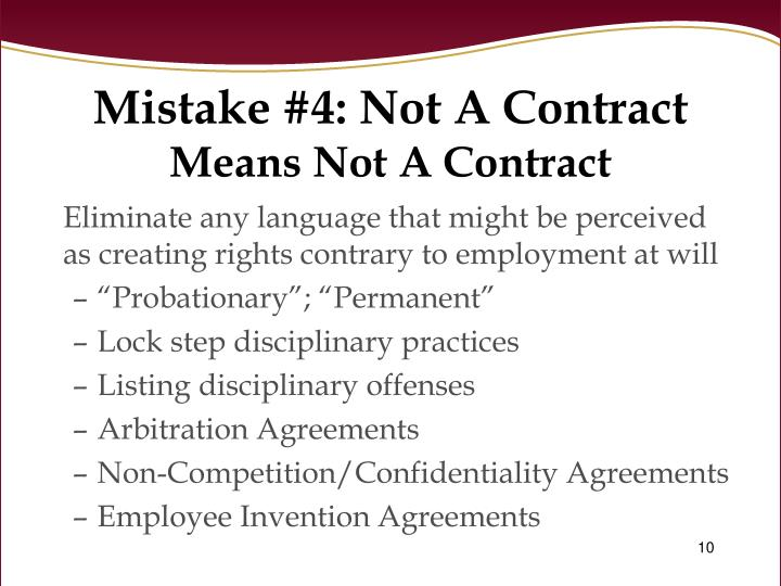 Mistake #4: Not A Contract