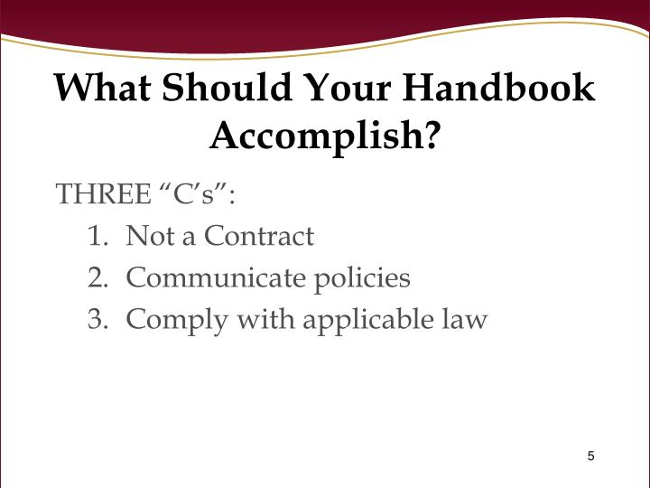 What Should Your Handbook Accomplish?