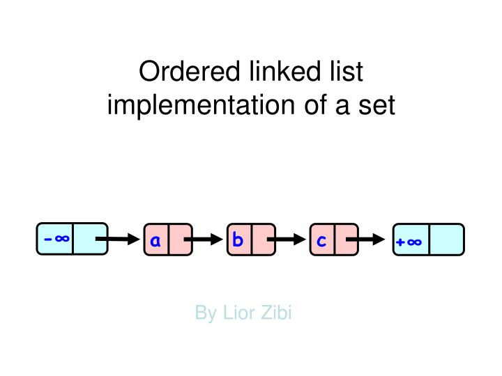 Ordered linked list implementation of a set