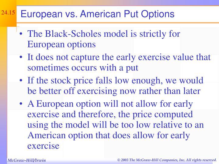 European vs. American Put Options