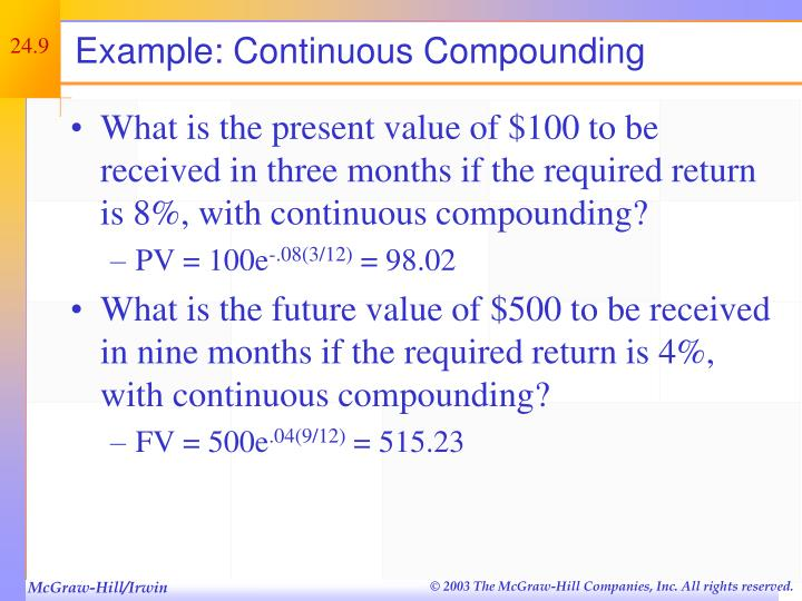 Example: Continuous Compounding