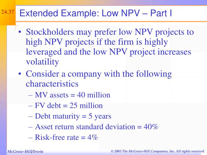 Extended Example: Low NPV – Part I