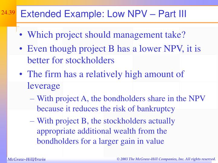 Extended Example: Low NPV – Part III