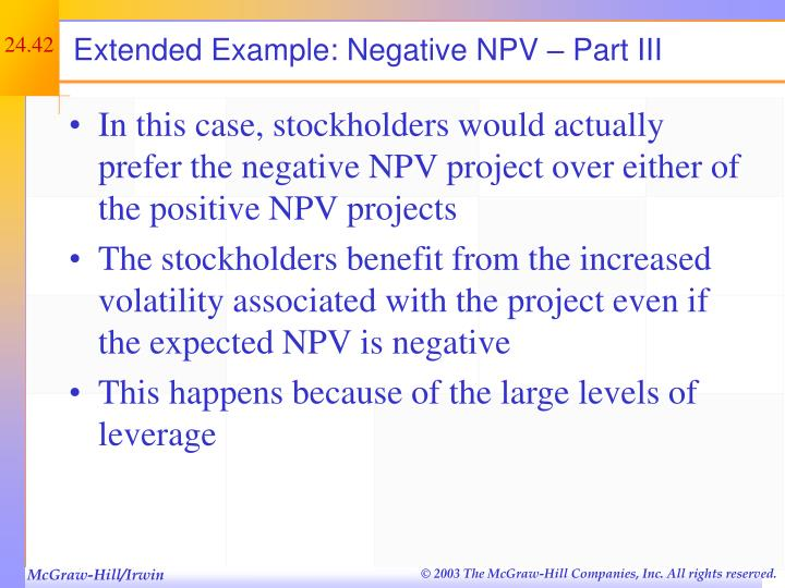 Extended Example: Negative NPV – Part III