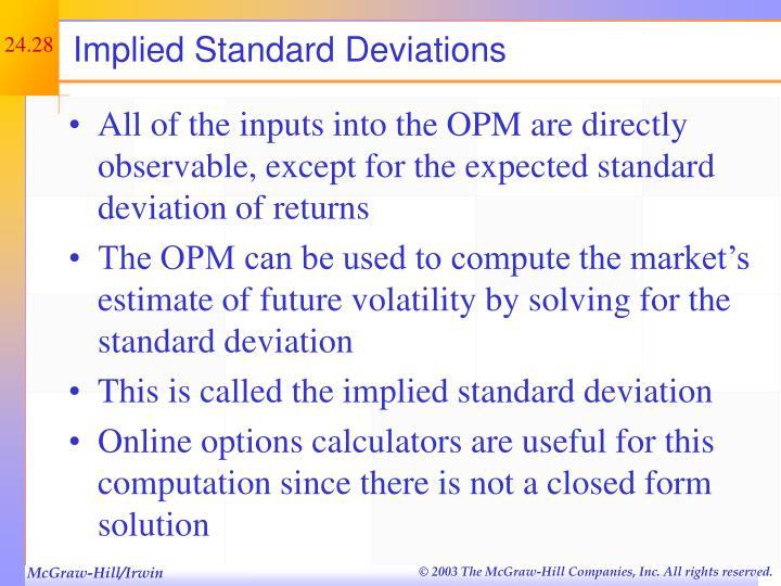 Implied Standard Deviations