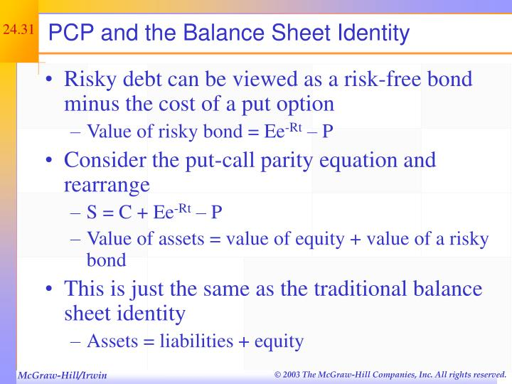 PCP and the Balance Sheet Identity