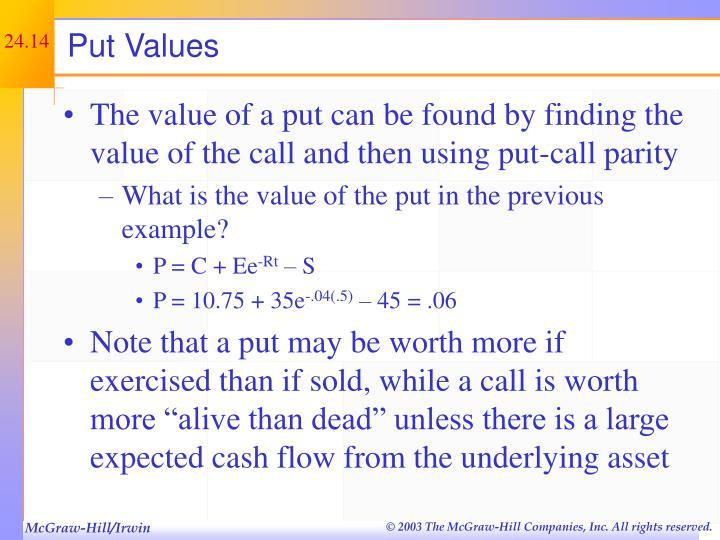 Put Values