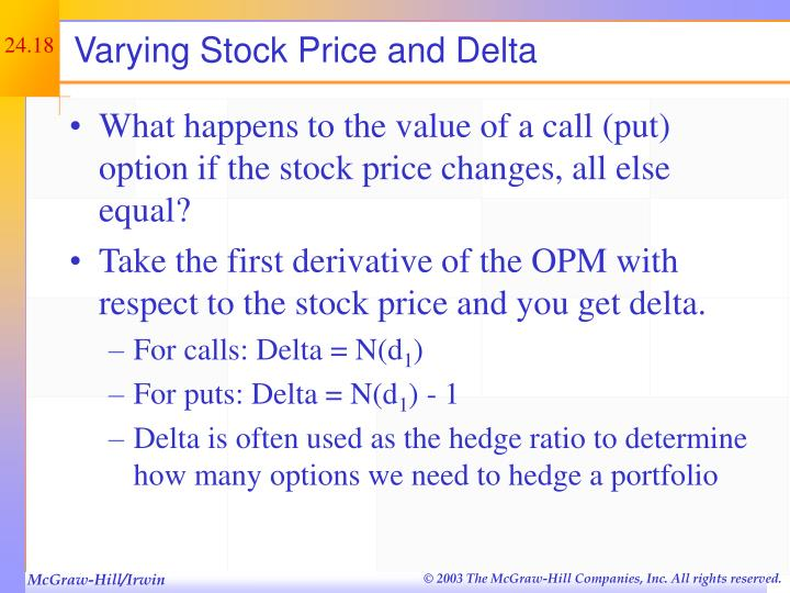 Varying Stock Price and Delta