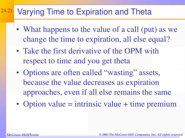 Varying Time to Expiration and Theta