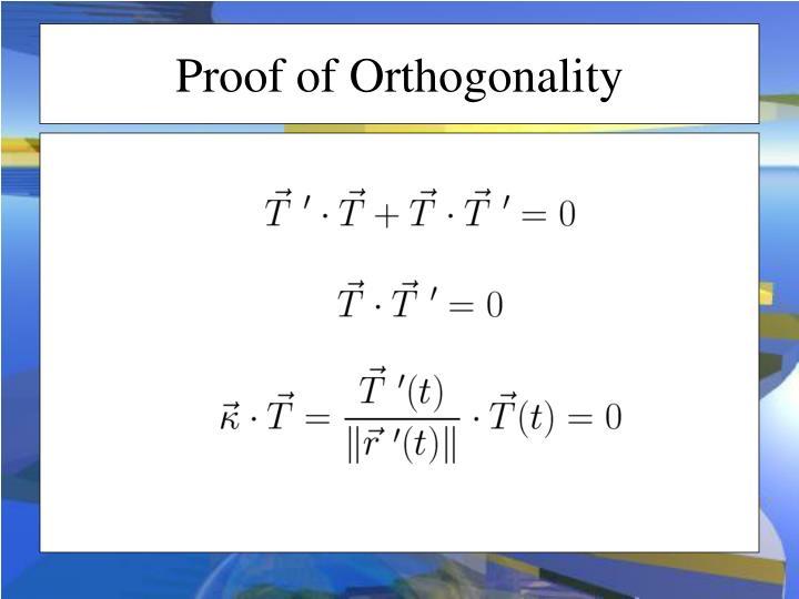 Proof of Orthogonality