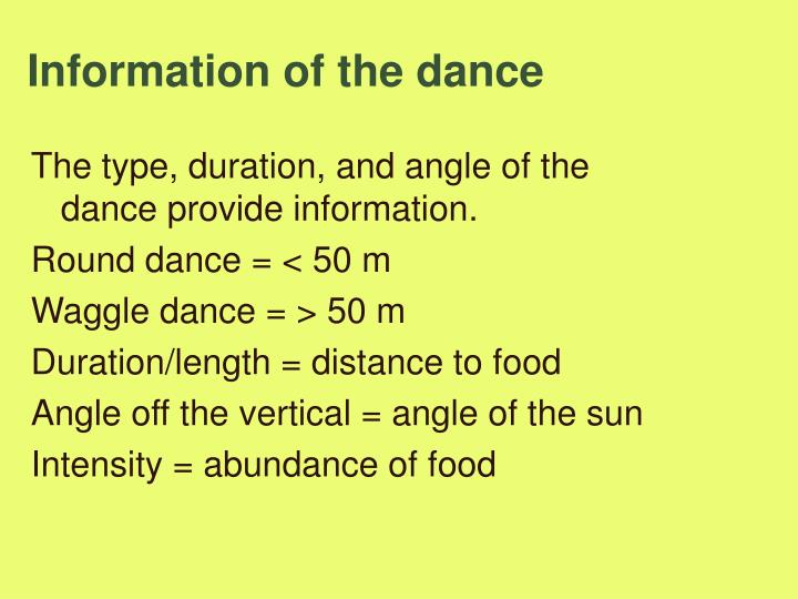Information of the dance