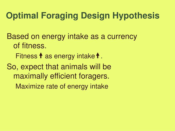 Optimal Foraging Design Hypothesis
