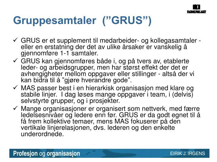 """Gruppesamtaler  (""""GRUS"""")"""