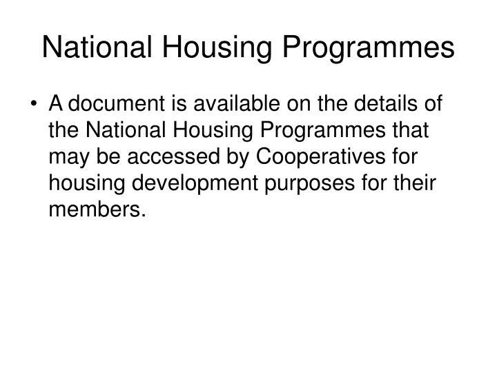 National Housing Programmes