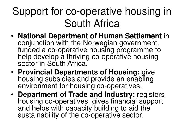 Support for co-operative housing in South Africa