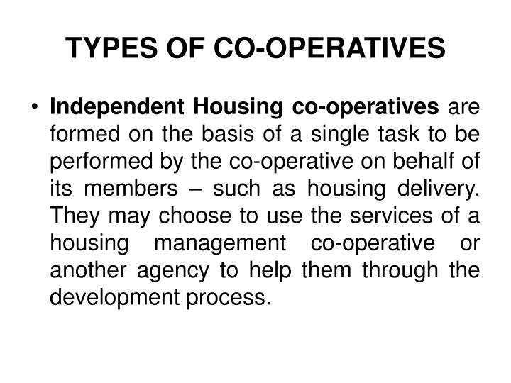 TYPES OF CO-OPERATIVES