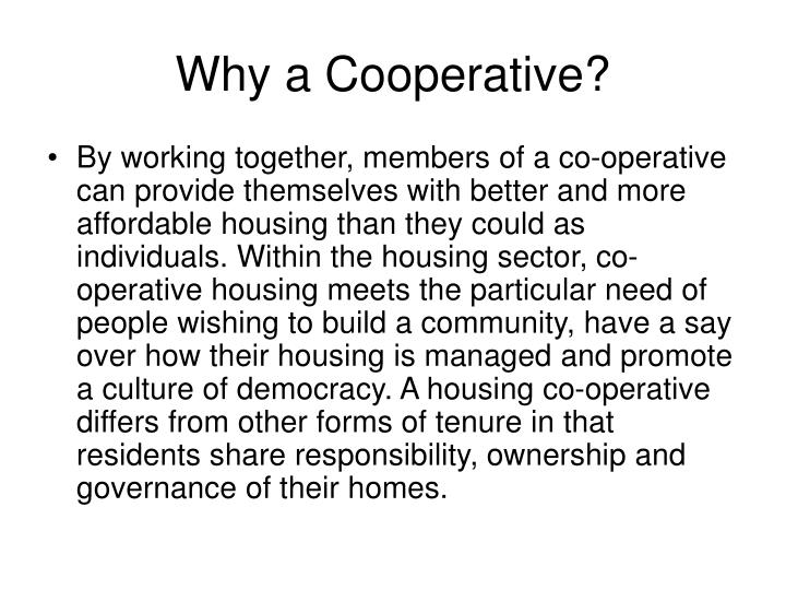 Why a Cooperative?