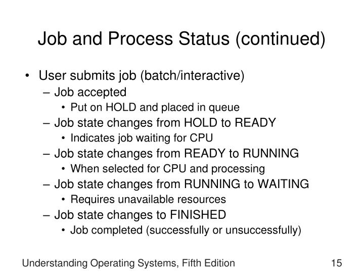 Job and Process Status (continued)