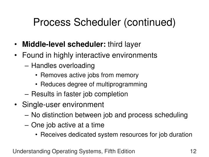 Process Scheduler (continued)