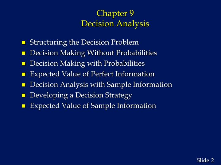 Chapter 9 decision analysis