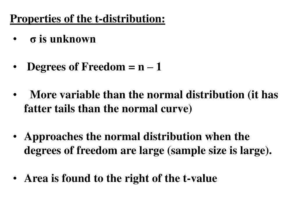 Properties of the t-distribution: