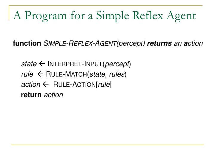 A Program for a Simple Reflex Agent
