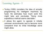 learning agents i